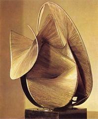 Antoine Pevsner - Construction in the Egg, 1948 - Bronze - 28 in. high - Naum Gabo's brother