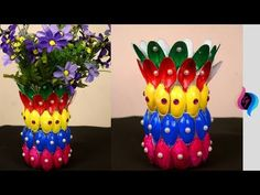 DIY - Flower vase of recycled plastic spoons - Easy crafts made with recycled materials - - YouTube