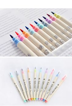 Set of Watercolour Calligraphy Pens journal ideasjournal ideas Stationary School, School Stationery, Cute Stationery, Caligraphy Pen, Calligraphy Markers, Learn Calligraphy, Calligraphy Watercolor, Calligraphy Supplies, Chinese Calligraphy