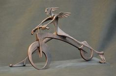 Libor Hurda Metal Art Sculpture, Art Sculptures, Cas, Mythology, Art Deco, Interior, Modern, Metal Art, Bicycles