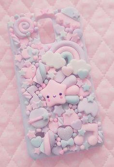 Soooo pastel and kawaii i love it so much! Decoden Phone Case, Kawaii Phone Case, Girly Phone Cases, Diy Phone Case, Phone Covers, Iphone Cases, Clay Crafts, Diy And Crafts, Kawaii Room