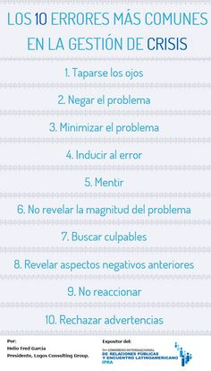 10 errores más comunes en gestión de crisis #infografia #infographic #marketing