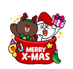 Brown & Cony's Snug Winter Date sticker Merry Christmas Gif, Snoopy Christmas, Christmas Tree With Gifts, Christmas Quotes, Friends Gif, Line Friends, Winter Date, Cony Brown, Cute Love Gif