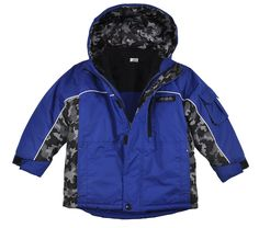London Fog Boys Blue Printed 4 In 1 Outerwear Coat (5/6). 100% Polyester. made In Bangladesh. Machine Wash Cold.