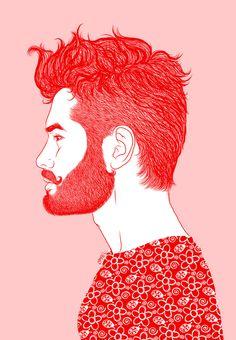 "▲ ""Red Beard"" by Ismael Álvarez. #art #illustration #draw #red #beard #hipster #style #guy #man #society6"