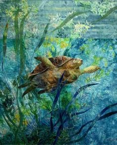 Brazilian Embroidery Sea Turtle hand dyed and print cotton silk\/applique embroidery quilting. Embroidery Designs, Embroidery Kits, Quilting Designs, Art Quilting, Quilt Art, Crazy Quilting, Embroidery Stitches, Fiber Art Quilts, Embroidery Fabric
