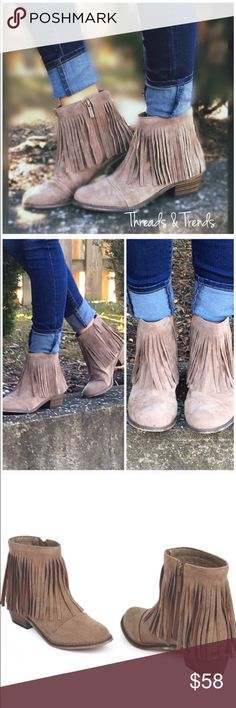 "RESTOCKING!!! Taupe Fringe Booties Taupe fringe booties.                                                      Material: Faux Suede (Man-Made) Heel Height: 1.75"" (Approx) Shaft Length: 6.35"" (Including heel) Top Opening 10.5"" Sole/padding: Synthetic Non-skid Sole Threads & Trends Shoes Ankle Boots & Booties"