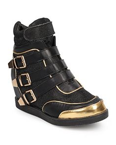 Nature Breeze DA90 Women Shimmer Strappy Buckle High Top Wedge Sneaker  Black Size 90 -- Check this awesome product by going to the affiliate link Amazon.com at the image.