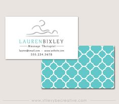 Teal Business Cards for Masseuse Massage by StileVybeCreative