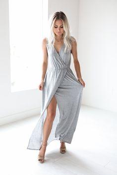 Grey Maxi Wrap Dress