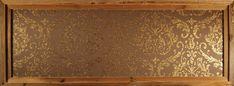 Bestell Nr. 009  Omexco Elegance Wallpaper (Gold braun)Textil Tapeten Bild mit Doppelrahmen Grösse 1990 mm x 710 mm CHF. 500.00