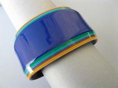 Vintage 1970's Lea Stein Modernist Plastic Rainbow Cuff Bracelet | eBay