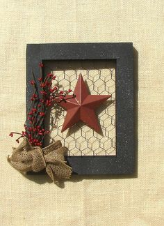 Picture  frame  with chicken wire burlap by KimsPrimitiveCrafts, $25.00