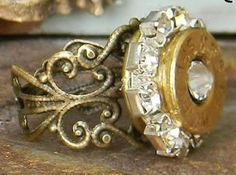 BADASS COWGIRL RING 44 Rem Mag Bullet Shell Case with Crystal & Rhinestone Trim on Bronze Filigree Western Ring