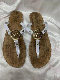 ca7284313d83 MICHAEL KORS MK Charm White Jelly Flip Flop Cork Sandals Size 9  fashion   clothing  shoes  accessories  womensshoes  sandals (ebay link)