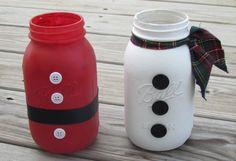 Hand Painted Mason Jar Santa Claus and by FestiveFloralsLLC
