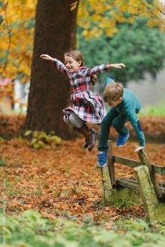 Kids and fences - fun in the country - Fall.  Credits: