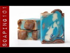 Upside-down soap using a custom (homemade) silicone tray mold that goes on the bottom of your loaf mold. Those are soap shells on top, which were made on the bottom. See video for details.
