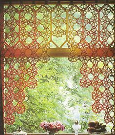 Vintage Crochet Pattern Extract Striking Cafe Curtain