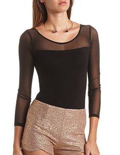 Mesh Yoke Long Sleeve Bodysuit: Charlotte Russe