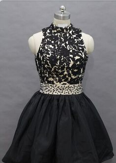 Homecoming Dress,Lace Homecoming Dress,Black | cutedressy 2 Piece Homecoming Dresses, Fitted Prom Dresses, Elegant Bridesmaid Dresses, Prom Dress Stores, Prom Dresses For Teens, Prom Dresses With Sleeves, A Line Prom Dresses, Modest Dresses, Evening Dresses