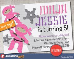 Personalized Pink & Purple Ninja Party Birthday Party Invitation PRINTABLE DIY / Girl's Ninja Birthday / Printable Invite / Custom Invite - pinned by pin4etsy.com