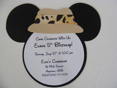Safari Mickey Mouse Inspired Invitations Mickey Safari Zoo Animal Birthday Party Invitation Fisherman Fishing Safari Hat Die Cut Invitation by whimsycreationsbyann on Etsy https://www.etsy.com/listing/82726435/safari-mickey-mouse-inspired-invitations