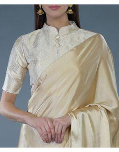 Cream-Gold Banarasi Brocade Silk Blouse With Gold Silk Saree