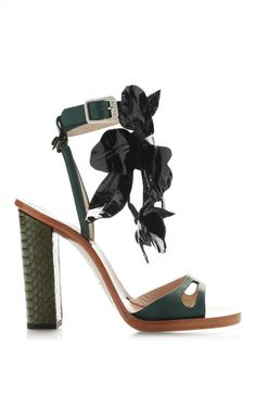 Floral Leather and Snakeskin Sandals by No. 21 - Moda Operandi