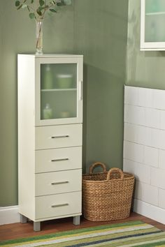 Antique White Frosted Pane Four Drawer Linen Cabinet