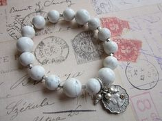 White Howlite Energy Bracelet Coin Charm by tuscanroad on Etsy, $22.00