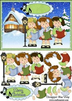 Carol Singing in the Snow Card Front and Decoupage