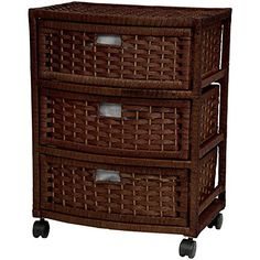Oriental Furniture Attractive Practical Most Affordable Nightstand End Tables, 3 Drawer Woven Plant Fiber Rattan Style Storage Chest, Mocha Oriental Furniture, Wicker Furniture, Chest Furniture, 3 Drawer Storage, Storage Chest, Basket Storage, Garage Storage, Storage Cabinets, Kitchen Storage