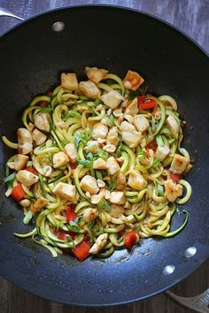 You can enjoy these Kung Pao Noodles without the guilt (under 300 calories), because I replaced the noodles with zoodles (zucchini noodles) and the results were fantastic!!  Each bowl is filled with chicken and vegetables and the sauce has the flavor combination of of salty, sweet, sour, and spicy flavors. Topped with crushed peanuts – it's pretty hard to pass this up!     If you're spiralizer has more than one spiral blade, use the thicker setting to replicate a thicker noodle feel. I…