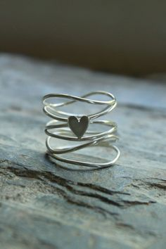Sterling silver delicate wire heart ring