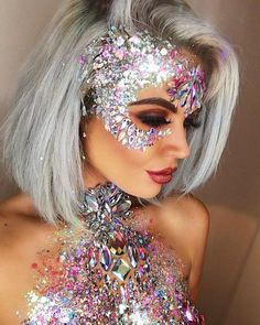 Make Up; Make Up Looks; Make Up Augen; Make Up Prom;Make Up Face; Disco Makeup, Rave Makeup, Sfx Makeup, Makeup Art, Makeup Drawing, Blonde Grise, Make Carnaval, How To Make Lipstick, Grey Blonde