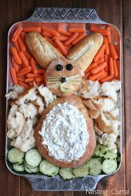 The Nesting Corral: Easy Easter Appetizer Easter Bunny Bread This Bunny is great for children, he makes healthy food fun & adults will love him too! Pretty sure I couldn't pull this off so cute.