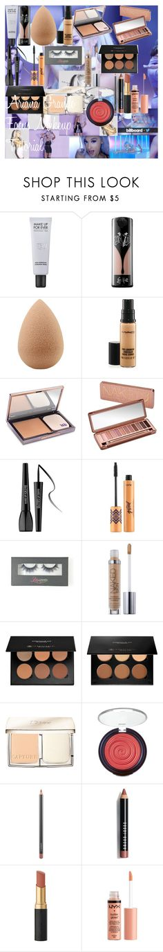 """""""Ariana Grande Focus Makeup Tutorial"""" by oroartye-1 on Polyvore featuring beauty, MAKE UP FOR EVER, Kat Von D, beautyblender, MAC Cosmetics, Urban Decay, tarte, Anastasia Beverly Hills, Christian Dior and Laura Geller"""