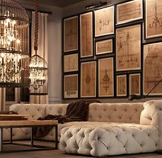 Old Hollywood glam Tufted sectional and birdcage chandelier lighting mixed with industrial wood and metal accents. Well done, Restoration Hardware!