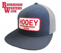 #GetYourHOOey, Navy Blue Flatbill, Trucker-Style Back, Snapback Feature, Hooey Cap, Spring Branch Texas Patch, Cowboy Hat, Red, White, & Blue, $29.98, http://bunkhousewestern.com/HSTC