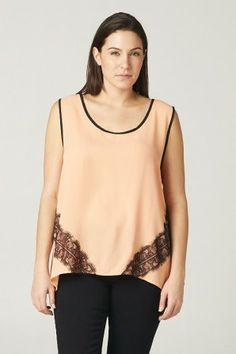 •#salediem #fashion   #lcolor  #summer #tops #blouses #plus #curvey Plus S/ L WOOLDOBBY TOP WITH LACE CONTRAST