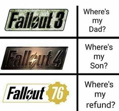 Can anyone tell me what is the main story line of Fallout Memes Humor, Logic Memes, Funny Gaming Memes, Stupid Memes, Funny Games, Fallout 4 Funny, Fallout Art, Fallout New Vegas, Fallout Quotes