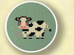 Moo. Sweet Cow Amongst Flowers Cross Stitch Pattern PDF File