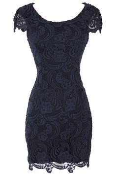 Nila Crochet Lace Capsleeve Pencil Dress in Navy @miriammahfoud