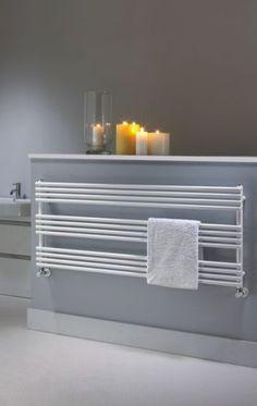 The Radiator Company Poll BDO Designer Heated Towel Radiator - White Bathroom Heater, Bathroom Radiators, Bathroom Windows, Classic Style Bathrooms, Classic Bathroom, Towel Heater, Electric Towel Rail, Bad Styling, Bathroom