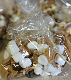 S'mores mix for a camping themed birthday party - Golden Grahams, mini-marshmallows, and chocolate chips!