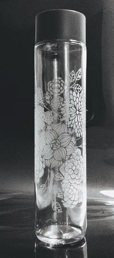 Etched Glass Water Bottle - 27.1 oz. From NC Etching Co. ncetchingco.com