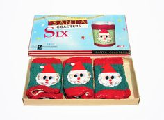 Vintage Box of Christmas Season Santa Claus Coasters Glass or Bottle Covers. Perfect Festive Decor for Christmas or Holiday Party or as a Hostess Gift. $14.00