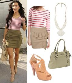 Ruffled skirt and red striped top
