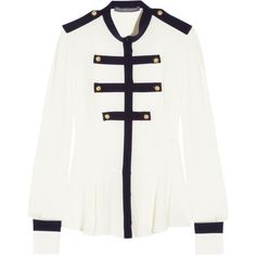 Alexander McQueen Silk-georgette blouse (10 765 UAH) ❤ liked on Polyvore featuring tops, blouses, shirts, alexander mcqueen, peplum blouse, fitted shirt, white peplum shirt, snap button shirts and see through blouse